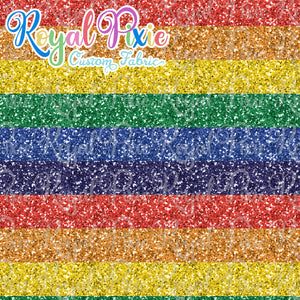"Permanent Preorder - Glitters - Thick 1"" Stripe Rainbow"