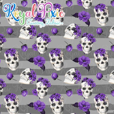 Skull Floral on Grey Stripes