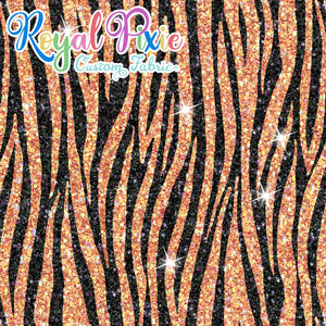 Permanent Preorder - Coords - Animal Prints - Glitter Zebra Orange