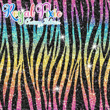 Load image into Gallery viewer, Permanent Preorder - Coords - Animal Prints - Glitter Zebra Rainbow Bright