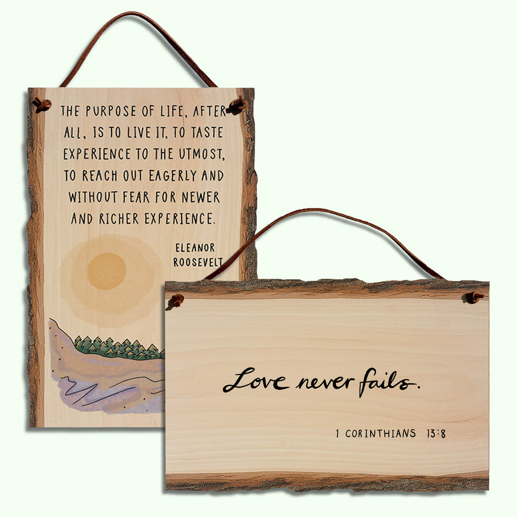 Live Edge Wall Hanging Scripture and Nature Quotes With Leather Hanging Stap