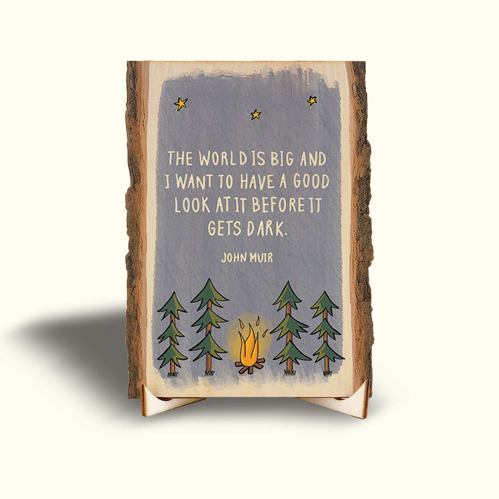 John Muir Nature Quotes on Small Wood Desk Art