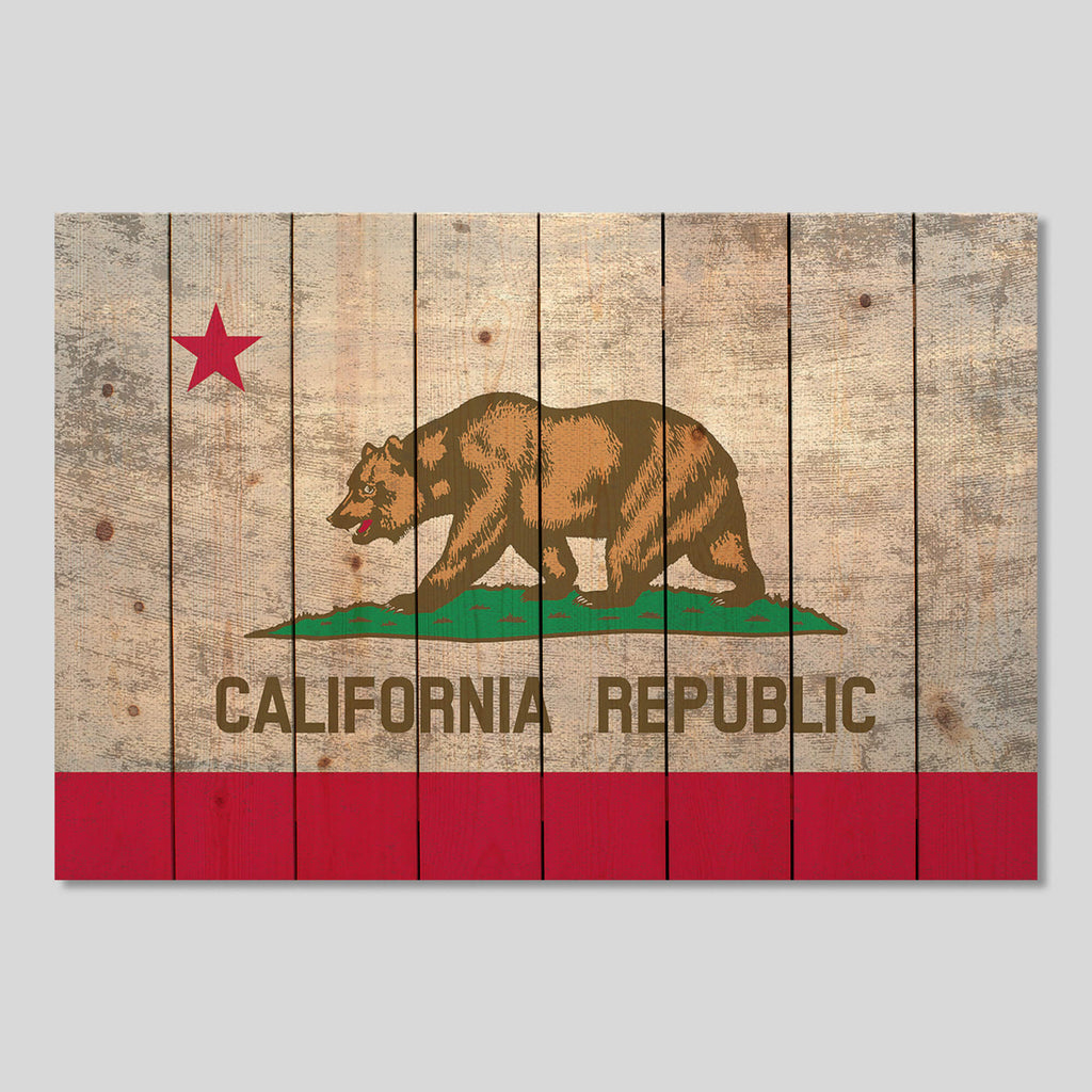 California State Flag on Wood