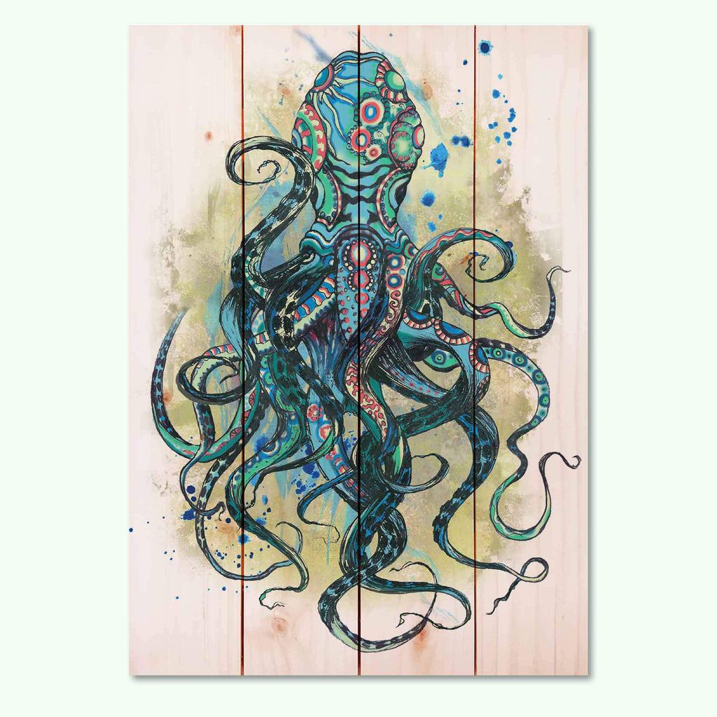 Colorful Blue Octopus Print on Wood Pallet