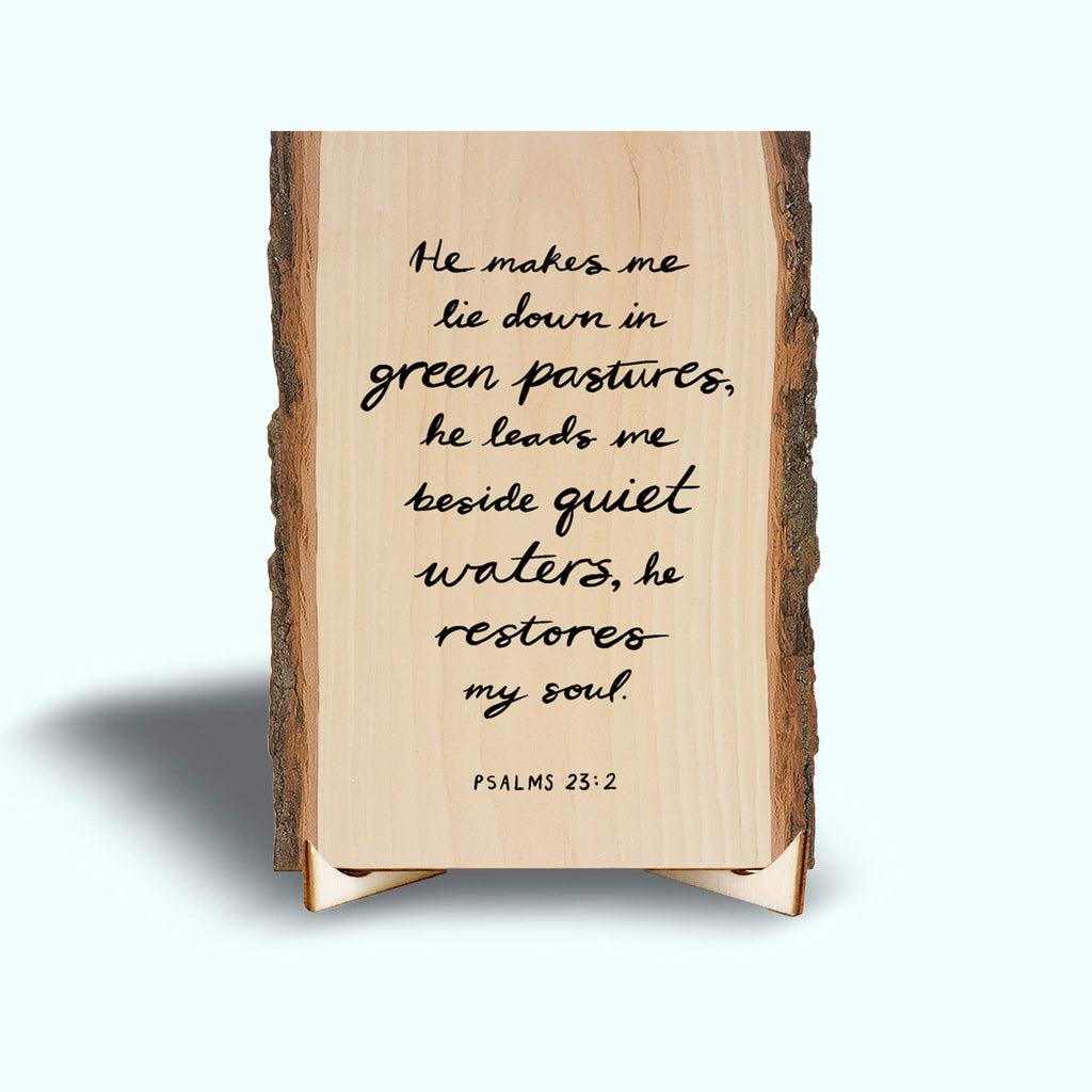 Scripture on Small Desk Art with Wood Easel