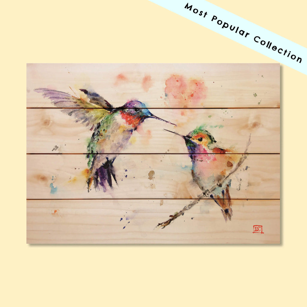 Two Colorful Hummingbirds by Dean Crouser on Wood