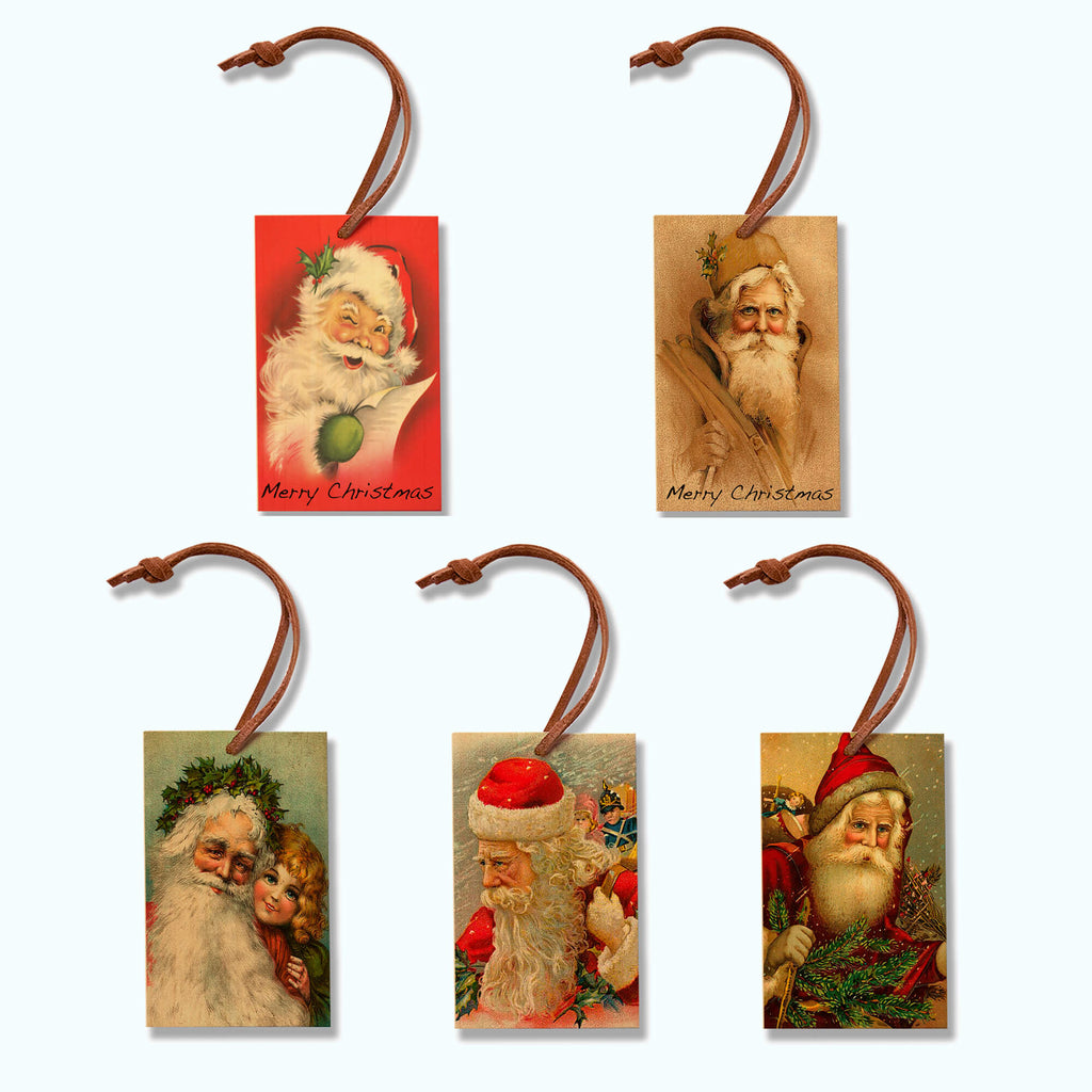 Vintage Santa Claus Wood Ornaments with Leather Strap Hangers