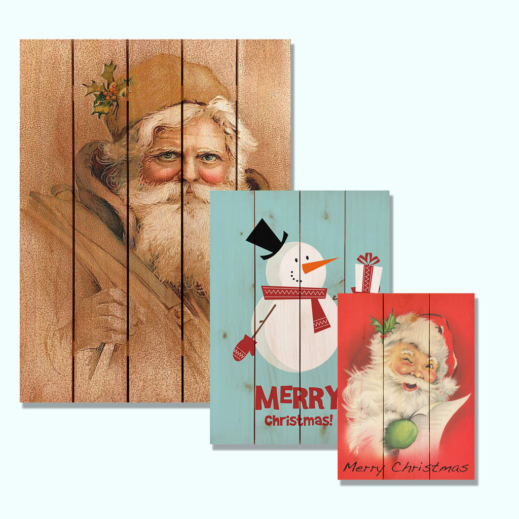 Multiple sizes of retro wood holiday art