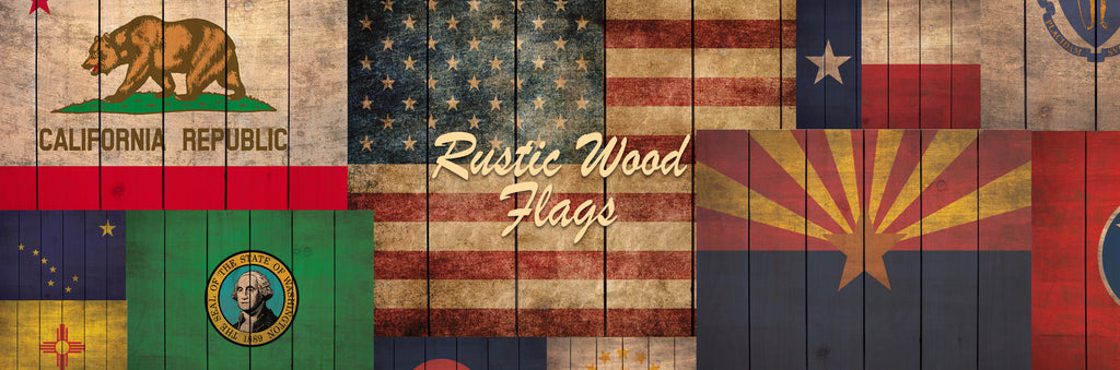 Rustic State Flags on Indoor/Outdoor Safe Wood