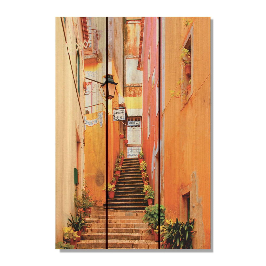 Artist Alley - Colorful Alleyway Wood Wall Art DaydreamHQ FenceEscape 16x24