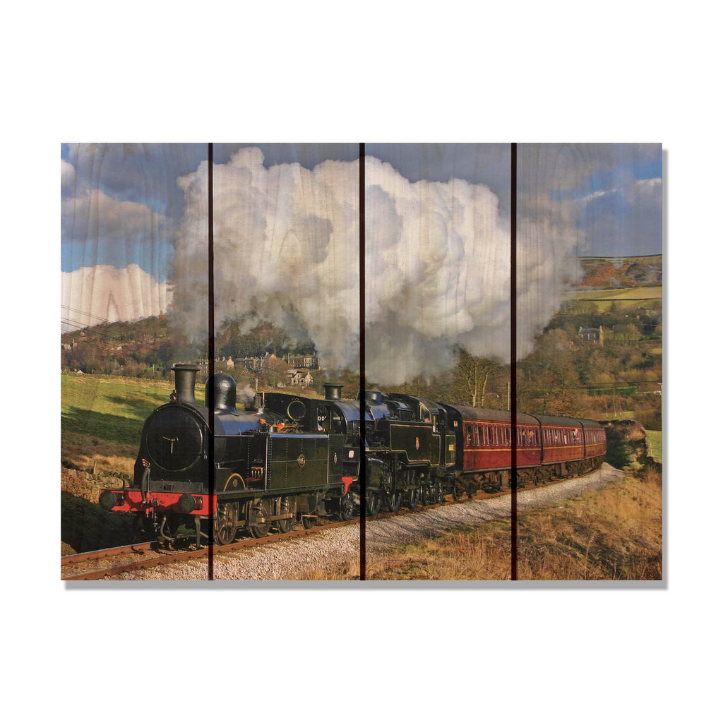 All Aboard - Classic Train Wood Wall Art DaydreamHQ FenceEscape 22x16