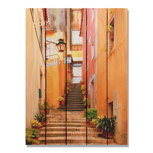 Artist Alley - Colorful Alleyway Wood Wall Art DaydreamHQ FenceEscape 28x36