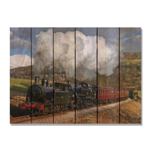 All Aboard - Classic Train Wood Wall Art DaydreamHQ FenceEscape 33x24