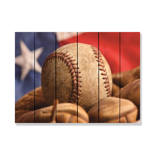 All American - Baseball Wood Wall Art DaydreamHQ FenceEscape 33x24
