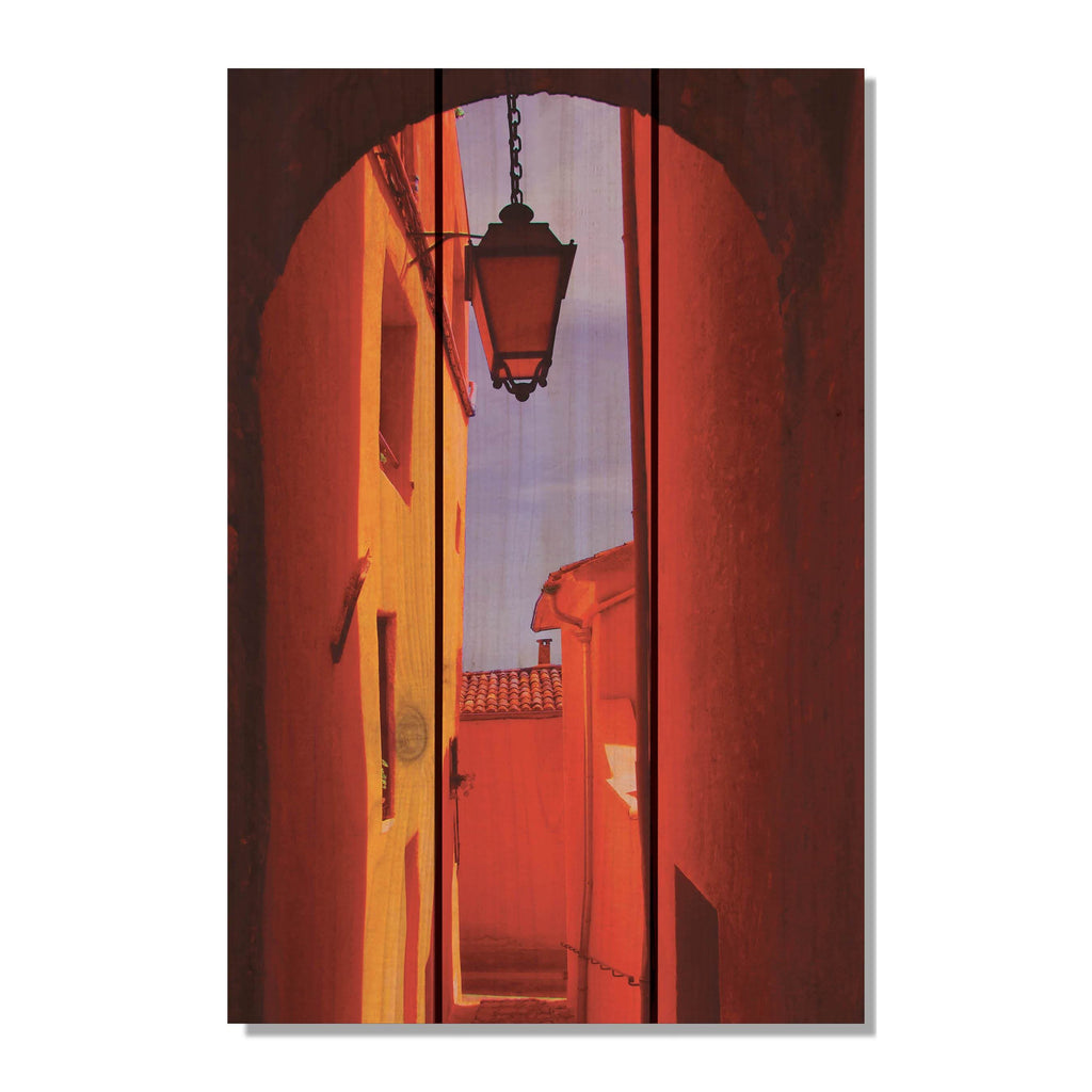 Arch Way - Dark Contrasted Red Alley Wood Wall Art DaydreamHQ FenceEscape 16x24
