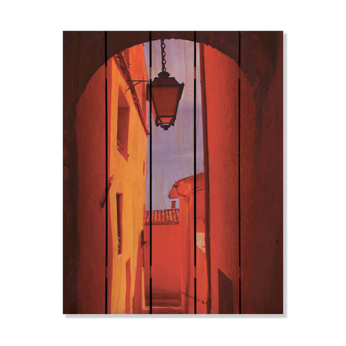 Arch Way - Dark Contrasted Red Alley Wood Wall Art DaydreamHQ FenceEscape 28x36