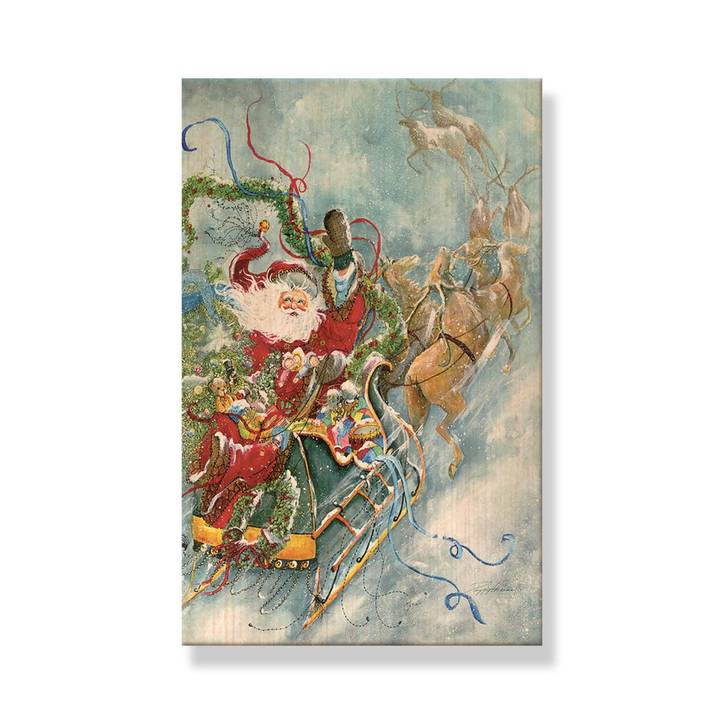 Abrams' Fly Away Santa - Mailable Wood Postcard - Single Image Multi Pack DaydreamHQ