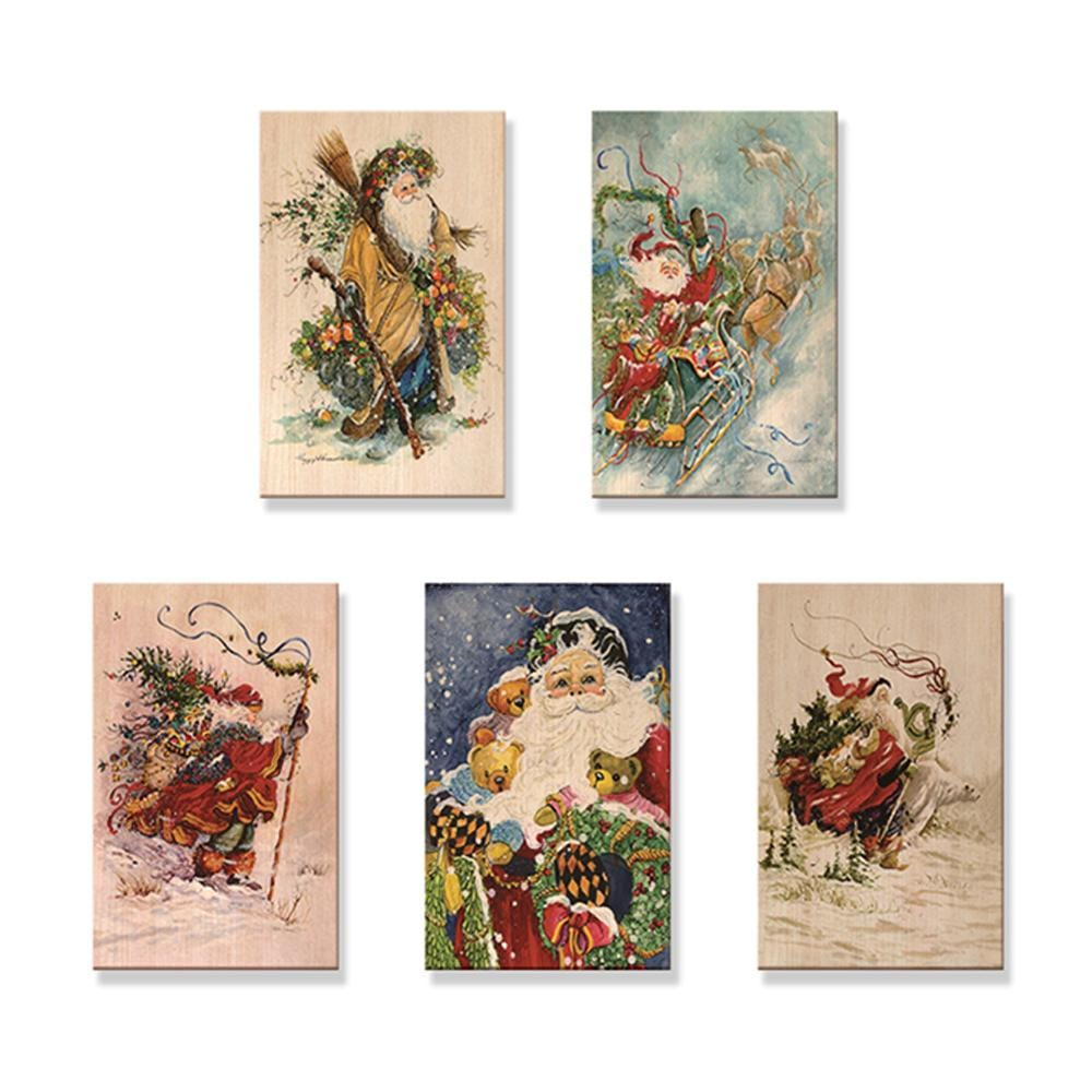 Abrams' Santas - Mailable Wood Postcards - 5 pack DaydreamHQ Postcard