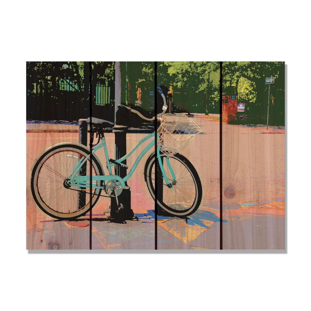 Blue Cruiser - Bicycle Wood Wall Art DaydreamHQ FenceEscape 22x16