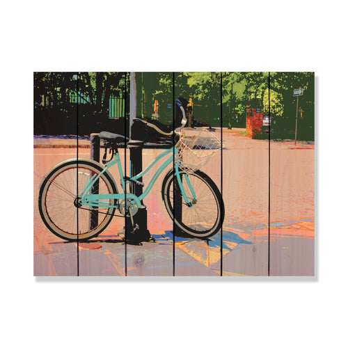 Blue Cruiser - Bicycle Wood Wall Art DaydreamHQ FenceEscape 33x24