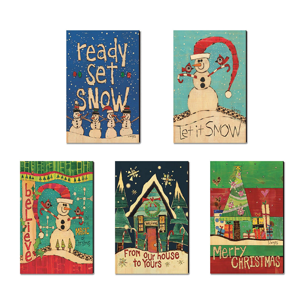 Burgess' Holiday Set 1 - Mailable Wood Postcards - Mixed Image Multi Pack DaydreamHQ Postcard 5 Pack