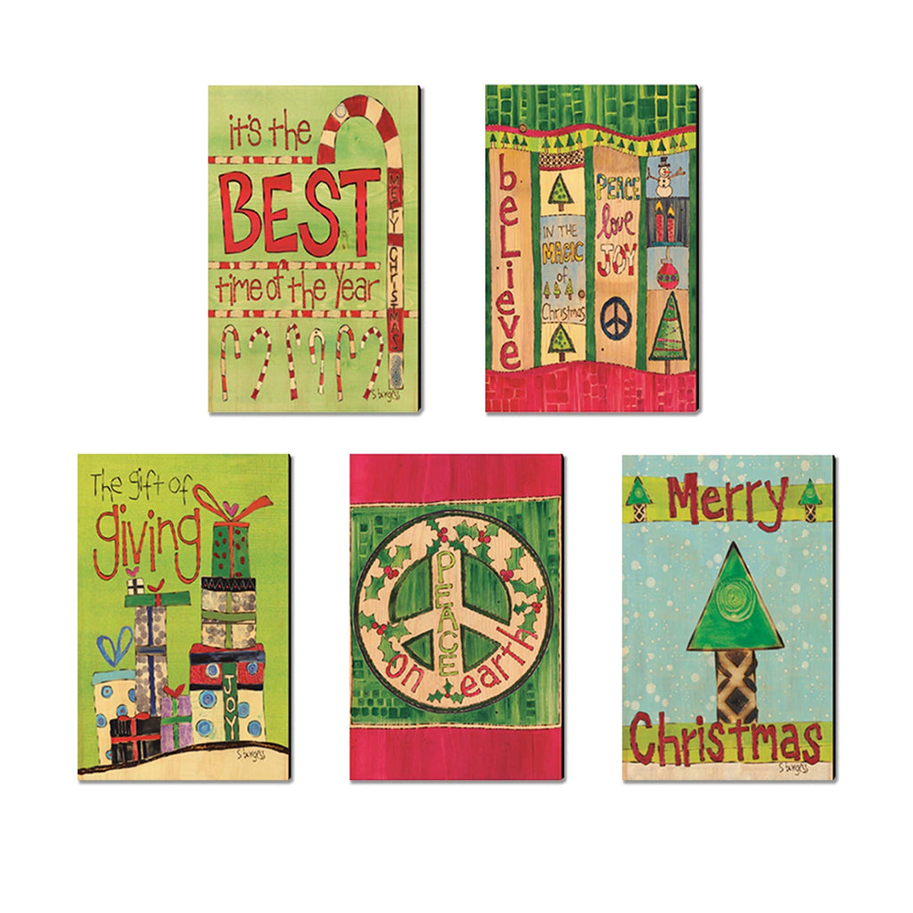 Burgess' Holiday Set 4 - Mailable Wood Postcards - Mixed Image Multi Pack DaydreamHQ Postcard 5 Pack