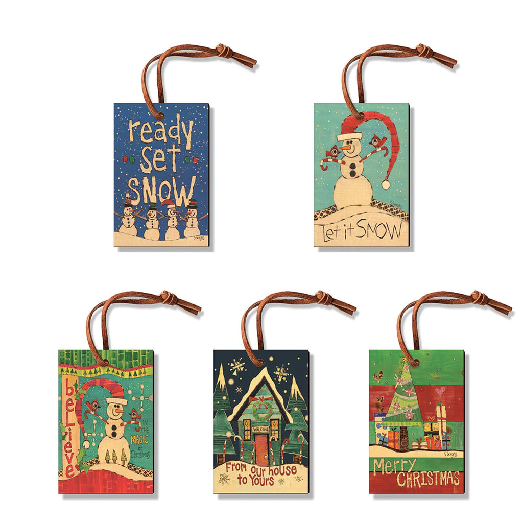 Burgess' Holiday Set 1  - Pack of 5 Solid Wood Ornaments DaydreamHQ Ornament