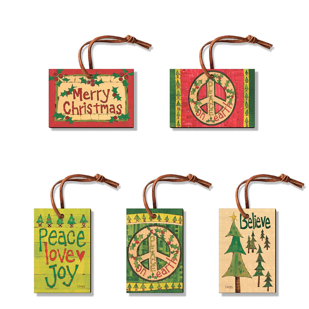 Burgess' Holiday Set 3  - Pack of 5 Solid Wood Ornaments DaydreamHQ Ornament