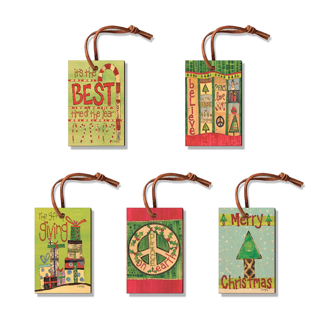 Burgess' Holiday Set 4  - Pack of 5 Solid Wood Ornaments Daydream HQ Ornament
