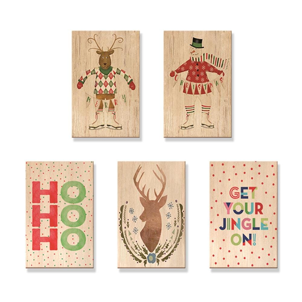 Christmas Cards - Mailable Wood Postcards - 5 pack DaydreamHQ Postcard