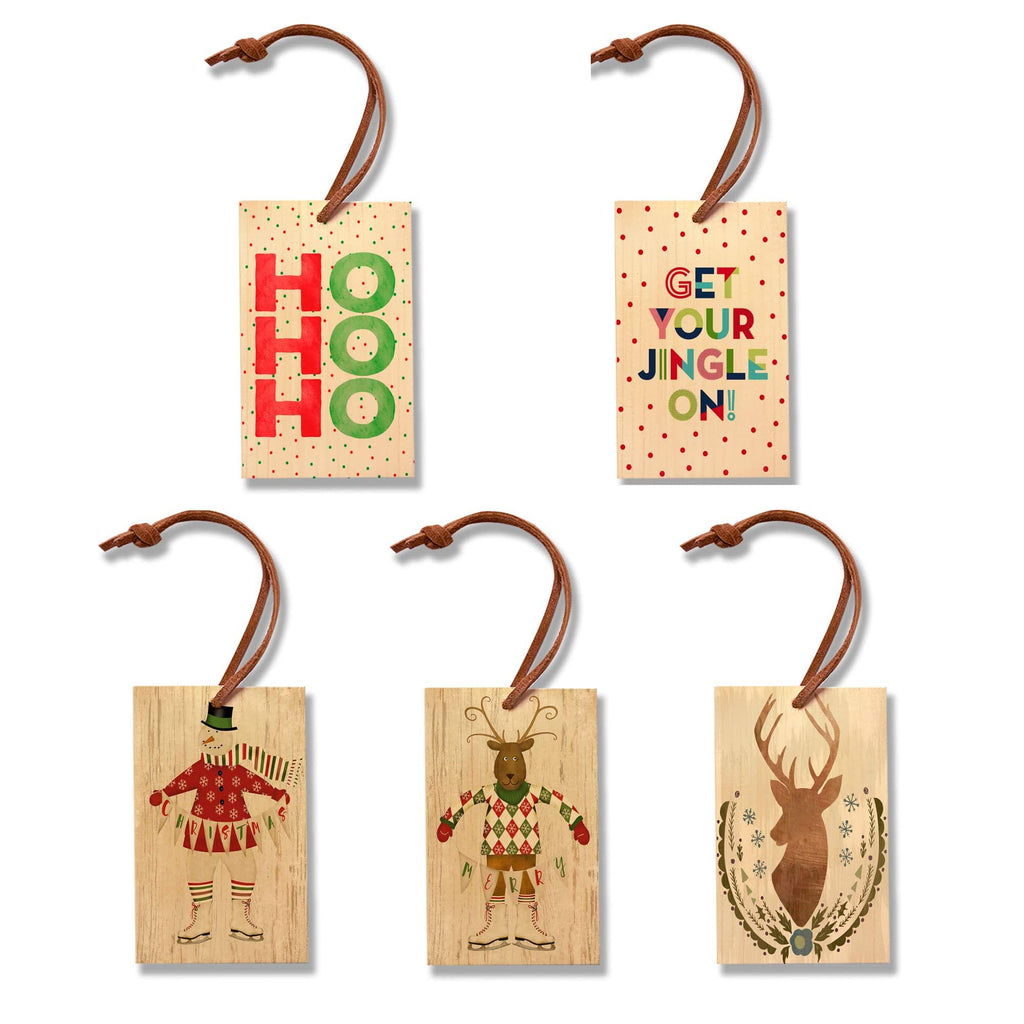 Christmas Set Set - Pack of 5 Solid Wood Ornaments DaydreamHQ Ornament