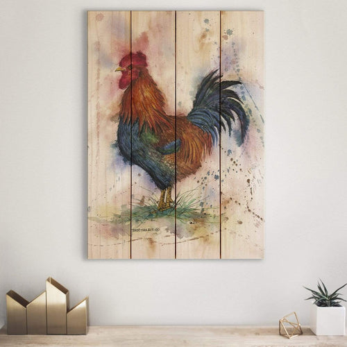 Bartholet's Barnyard Rooster - Classic Pine Wood Artist Series DaydreamHQ Pine Wall Art