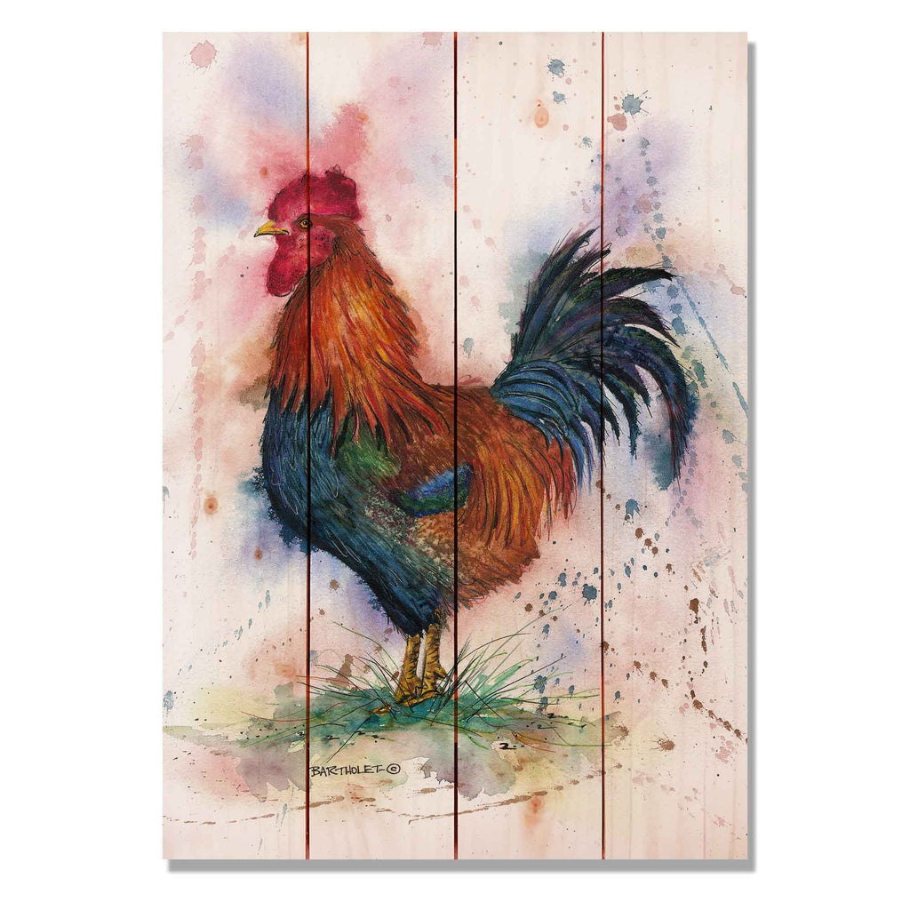 "Bartholet's Barnyard Rooster - Classic Pine Wood Artist Series DaydreamHQ Pine Wall Art 14""x20"""