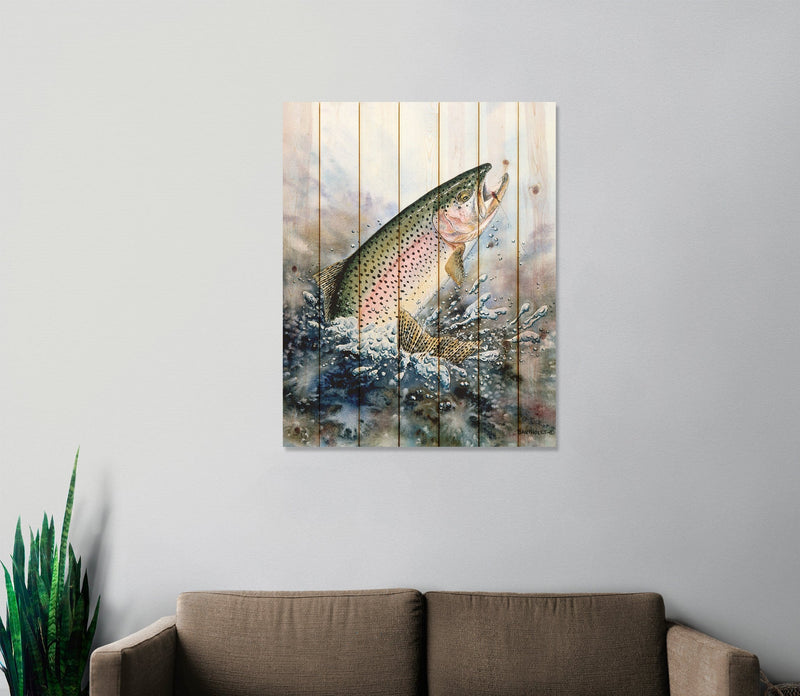 Rainbow Trout by Dave Bartholet - Fishing Wood Wall Art DaydreamHQ