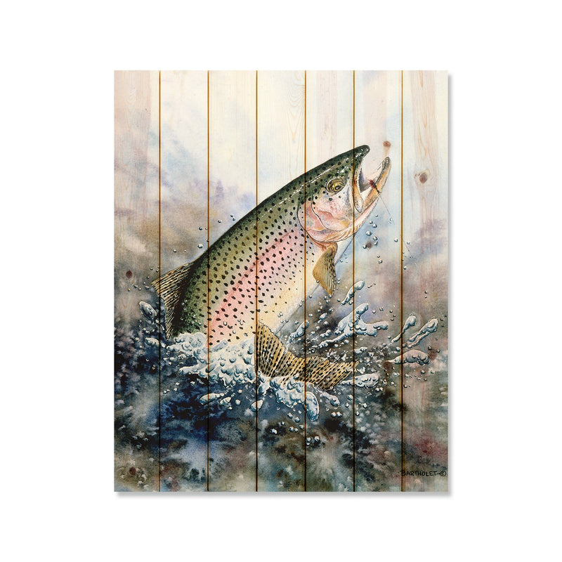 "Rainbow Trout by Dave Bartholet - Fishing Wood Wall Art DaydreamHQ 32""x42"""