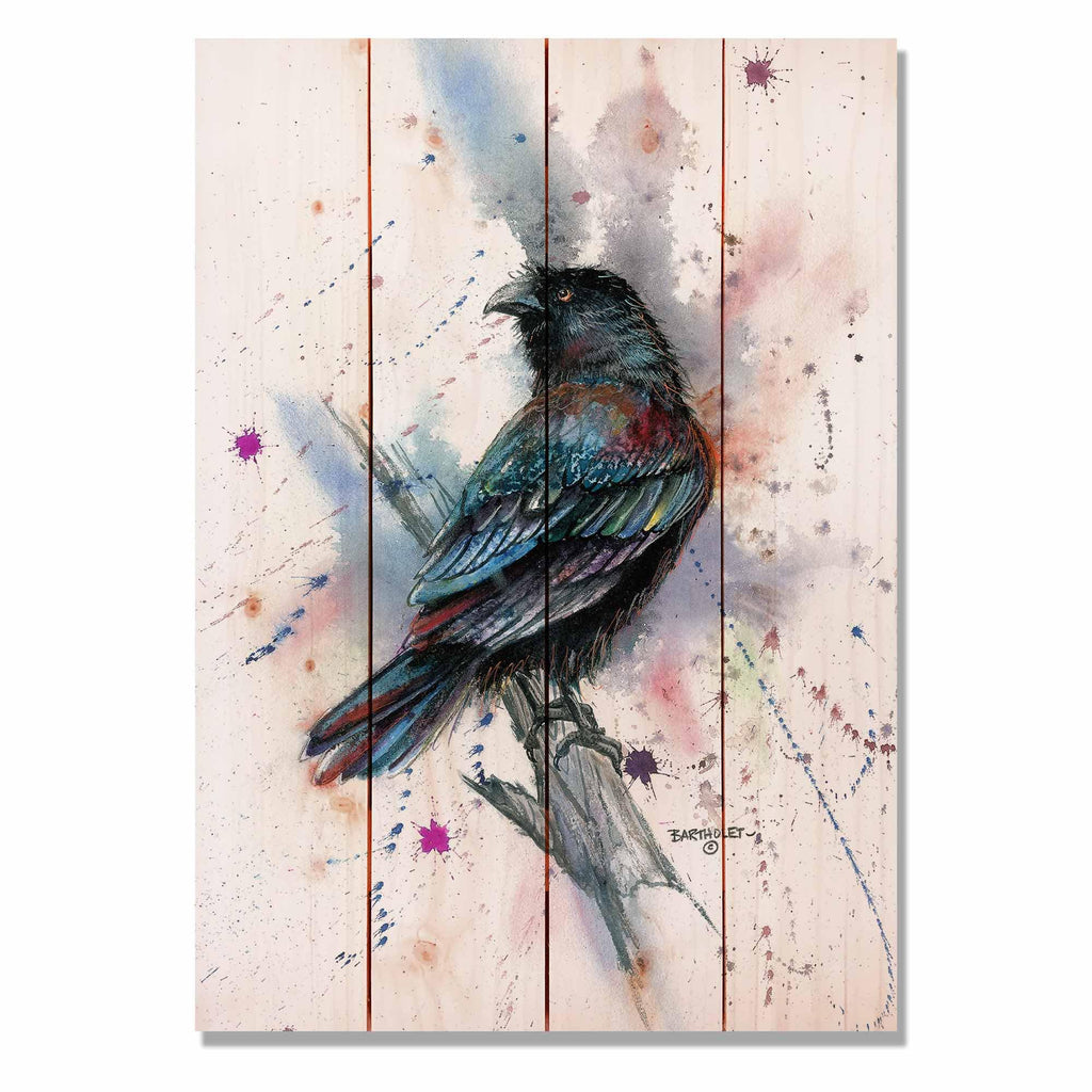 "Bartholet's The Raven - Classic Pine Wood Artist Series DaydreamHQ Pine Wall Art 14""x20"""