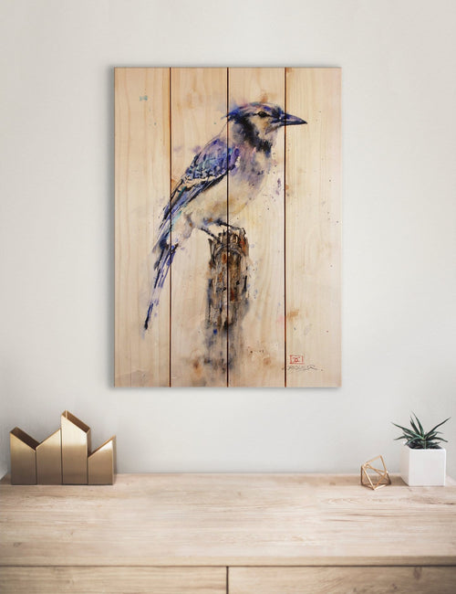 Crouser's Blue Jay - Classic Pine Wood Artist Series DaydreamHQ Pine Wall Art