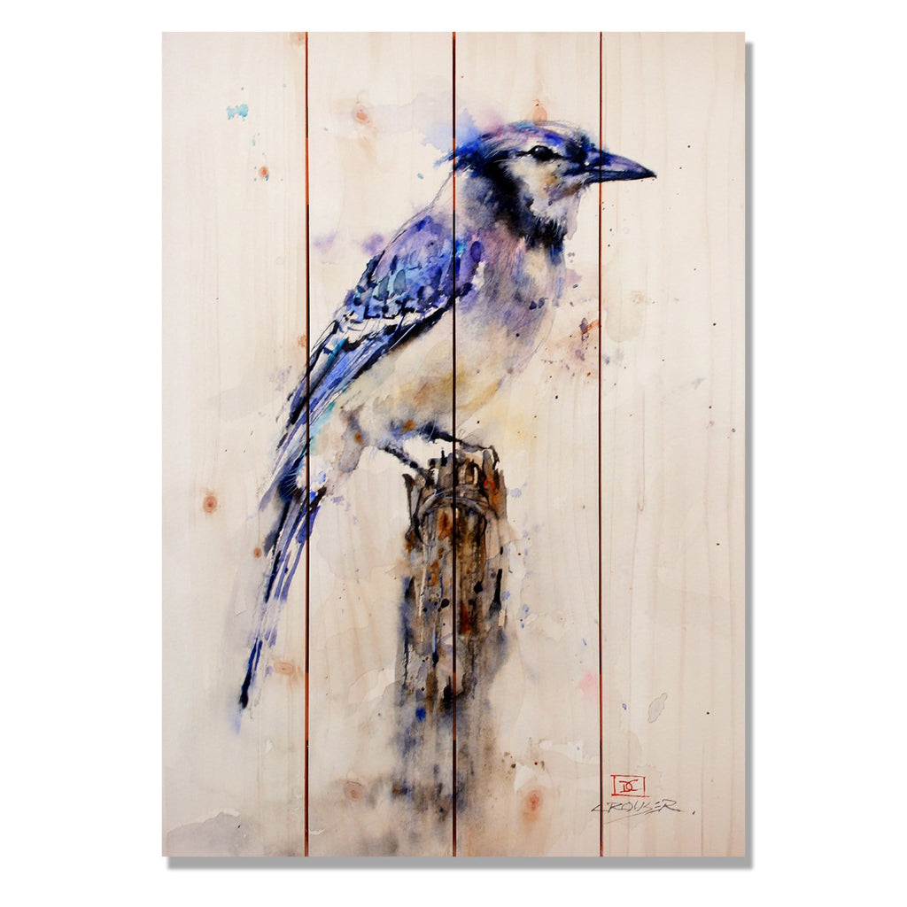 "Crouser's Blue Jay - Classic Pine Wood Artist Series DaydreamHQ Pine Wall Art 14""x20"""