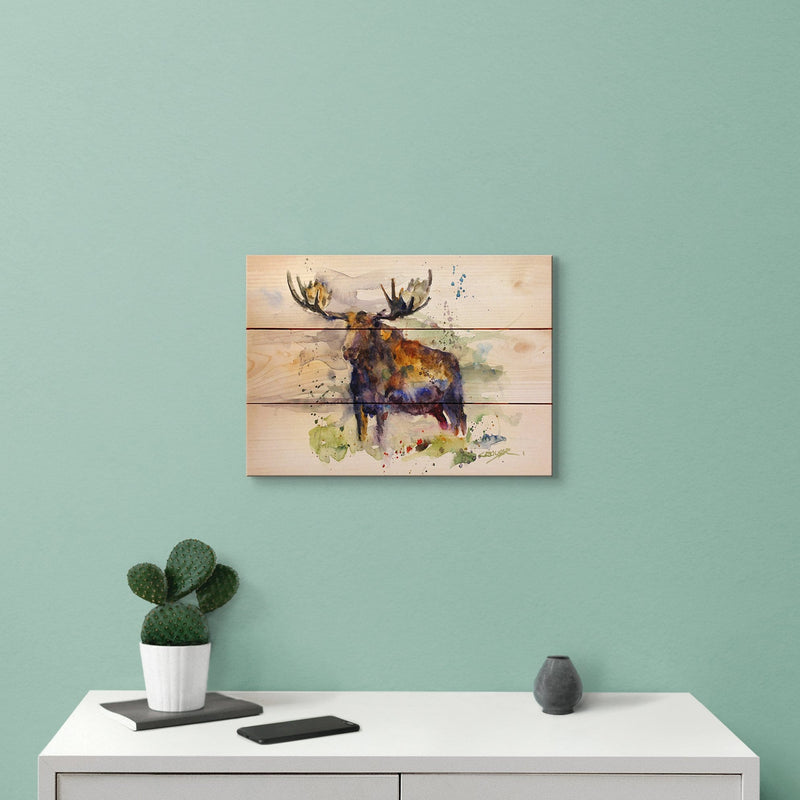 Crouser's Colorful Moose - Classic Pine Wood Artist Series DaydreamHQ Pine Wall Art