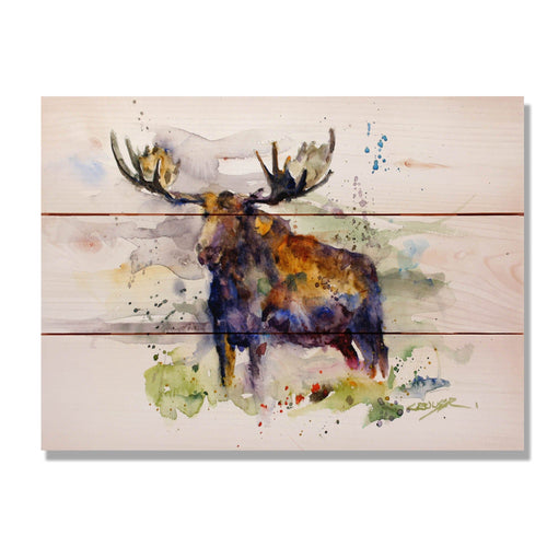 "Crouser's Colorful Moose - Classic Pine Wood Artist Series DaydreamHQ Pine Wall Art 15""x11"""