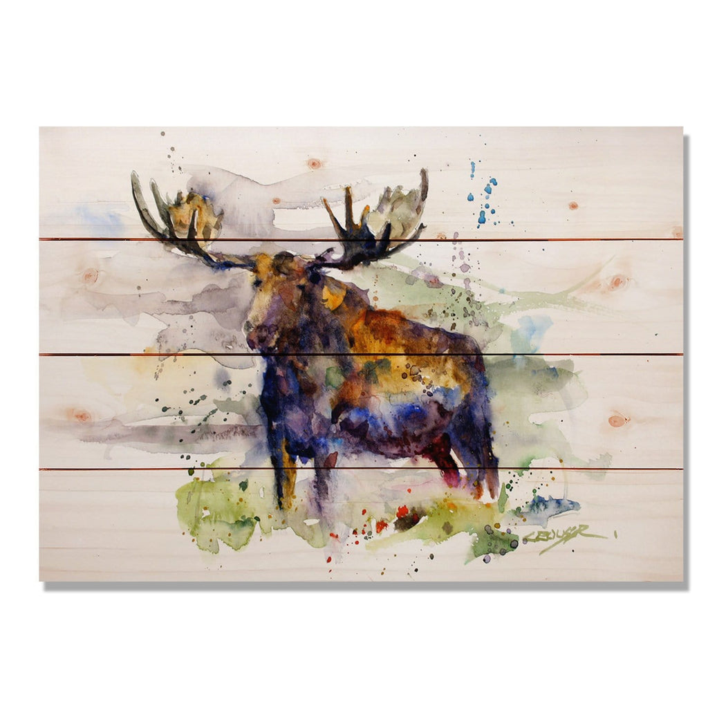 "Crouser's Colorful Moose - Classic Pine Wood Artist Series DaydreamHQ Pine Wall Art 20""x14"""