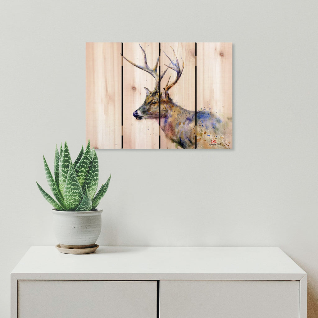Colorful Deer by Crouser DaydreamHQ Fine Art on Wood 22x16
