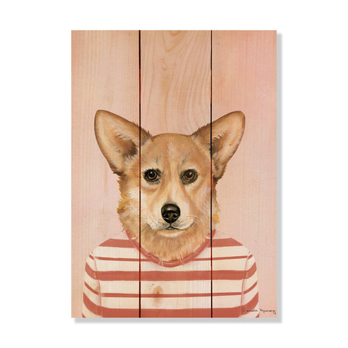 "Murray's Corgi - Classic Pine Wood Artist Series DaydreamHQ Pine Wall Art 11""x15"""