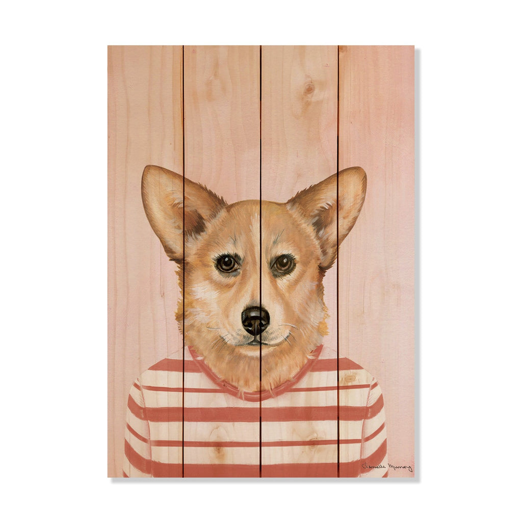 "Murray's Corgi - Classic Pine Wood Artist Series DaydreamHQ Pine Wall Art 14""x20"""