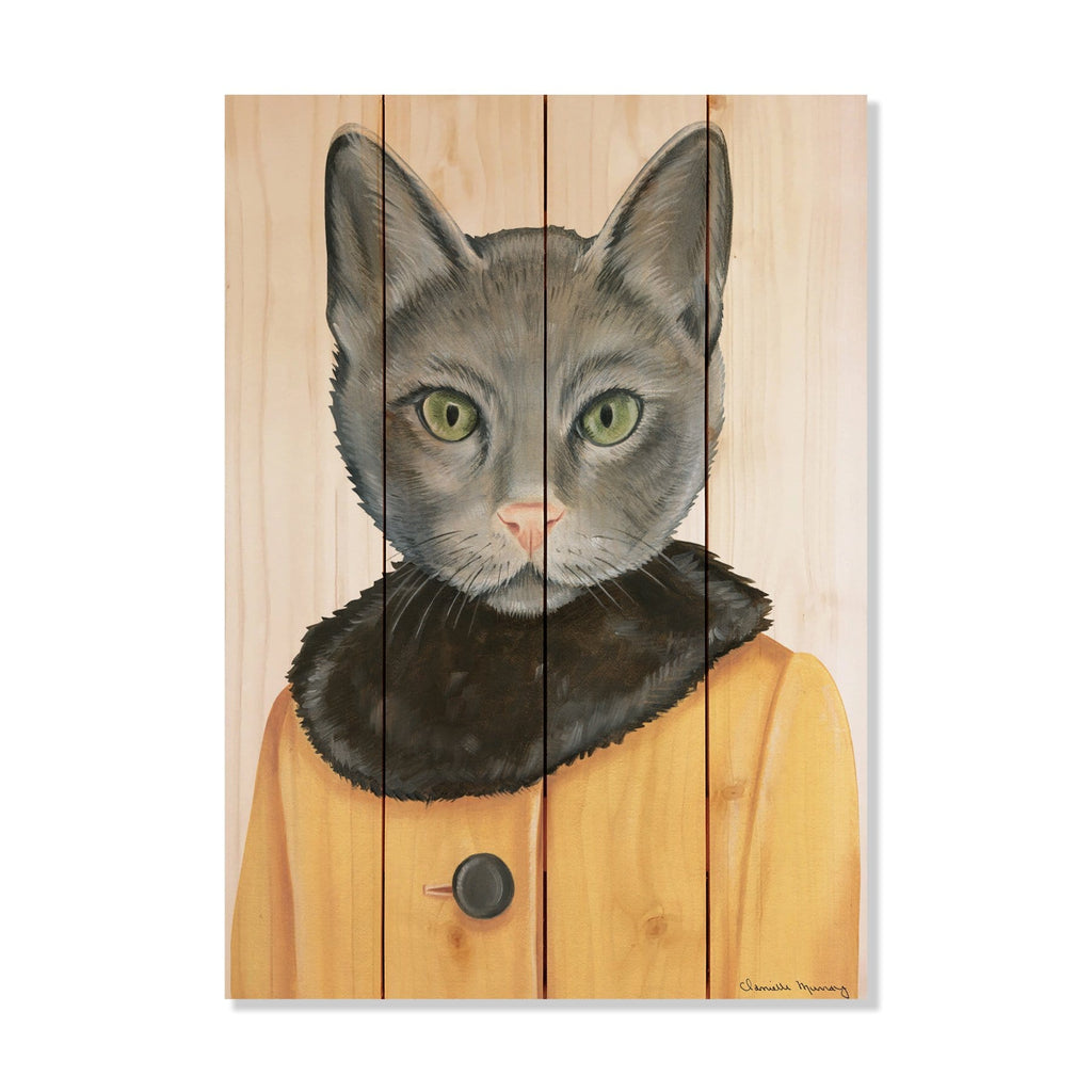 "Murray's Gray Cat - Classic Pine Wood Artist Series DaydreamHQ Pine Wall Art 14""x20"""