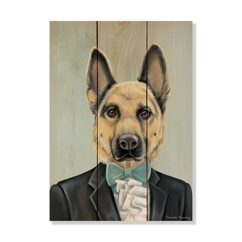 "Murray's German Shepherd - Classic Pine Wood Artist Series DaydreamHQ Pine Wall Art 11""x15"""