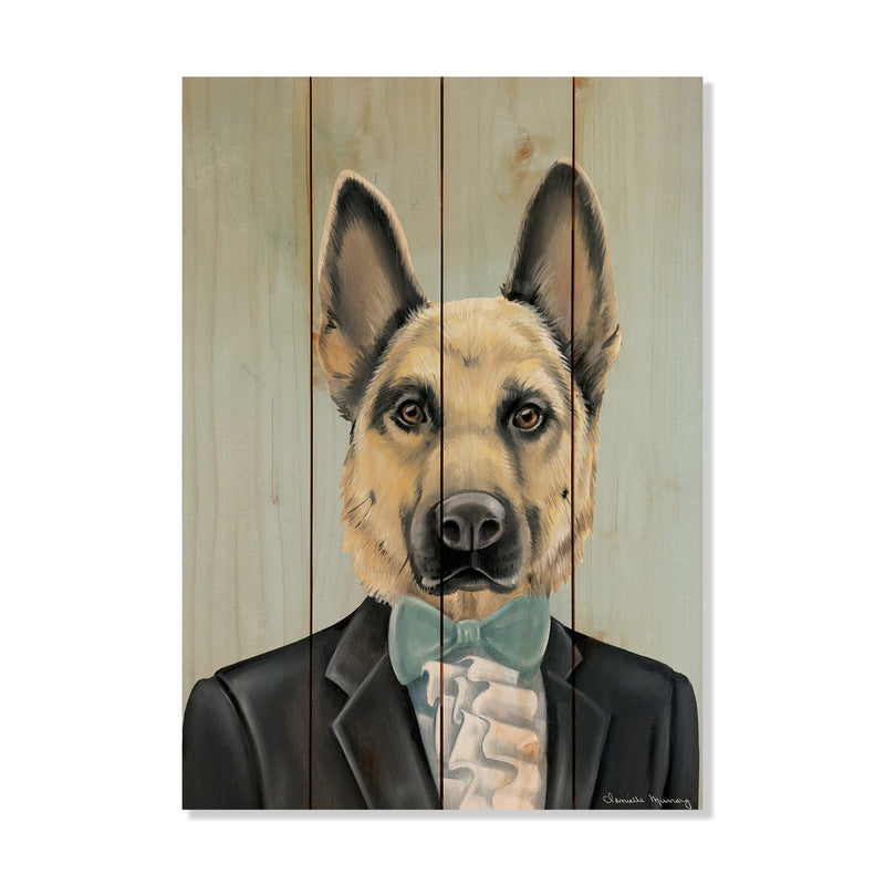 "Murray's German Shepherd - Classic Pine Wood Artist Series DaydreamHQ Pine Wall Art 14""x20"""
