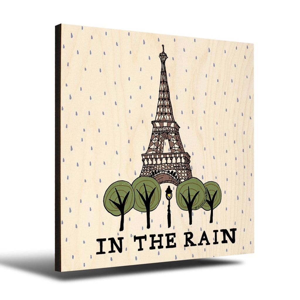 Solid Wood Wall Art - Illustrations by Em's Paris Rain - 12x12 DaydreamHQ Pine Wall Art 12x12