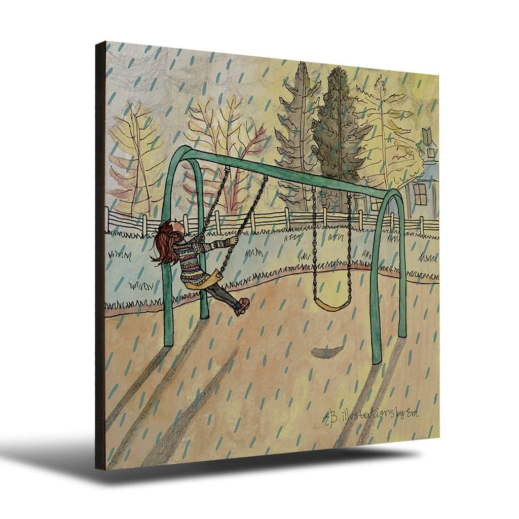 Solid Wood Wall Art - Illustrations by Em's Swinging Rain -12x12 DaydreamHQ Pine Wall Art 12x12