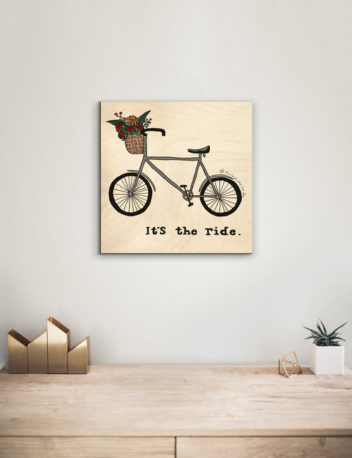 Solid Wood Wall Art - Illustrations by Em's The Ride - 12x12 DaydreamHQ Pine Wall Art 12x12